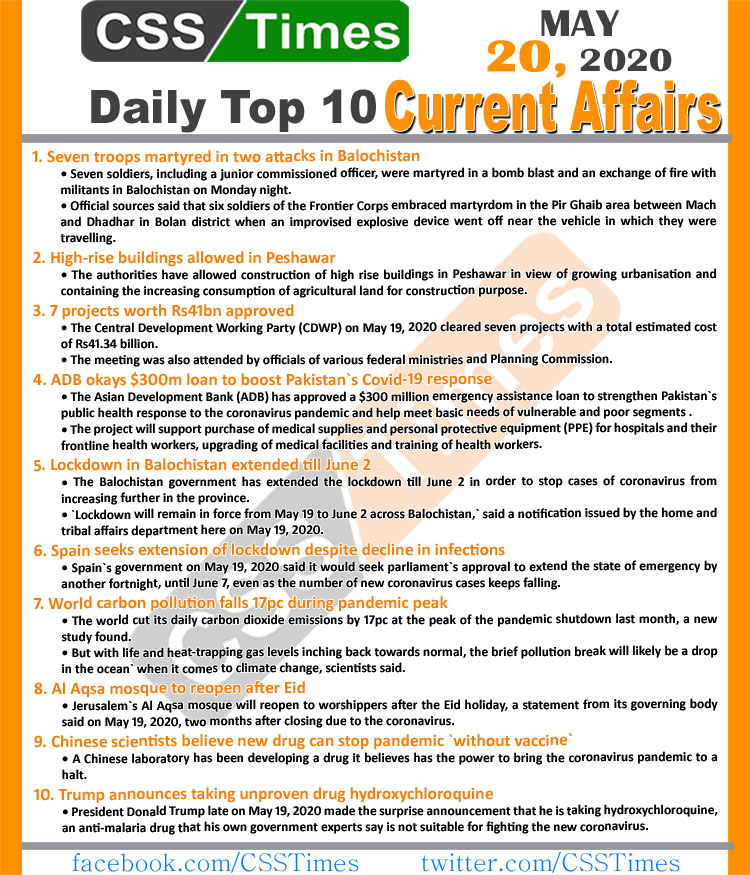 Daily Top-10 Current Affairs MCQs News (May 20, 2020) for CSS, PMS