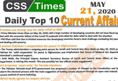 Daily Top-10 Current Affairs MCQs/News (May 21, 2020) for CSS, PMS