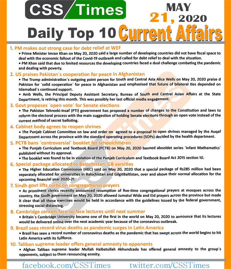 "Check our daily updated 's Complete Day by Day Current Affairs Notes May 2020: <ul class=""lcp_catlist"" id=""lcp_instance_0""><li ><a href=""https://www.csstimes.pk/current-affairs-mcqs-jan-23-2021/"" title=""Daily Top-10 Current Affairs MCQs / News (January 23, 2021) for CSS, PMS"">Daily Top-10 Current Affairs MCQs / News (January 23, 2021) for CSS, PMS</a></li><li ><a href=""https://www.csstimes.pk/dawn-news-vocabulary-22-jan-2021/"" title=""Daily DAWN News Vocabulary with Urdu Meaning (22 January 2021)"">Daily DAWN News Vocabulary with Urdu Meaning (22 January 2021)</a></li><li ><a href=""https://www.csstimes.pk/current-affairs-mcqs-jan-22-2021/"" title=""Daily Top-10 Current Affairs MCQs / News (January 22, 2021) for CSS, PMS"">Daily Top-10 Current Affairs MCQs / News (January 22, 2021) for CSS, PMS</a></li><li ><a href=""https://www.csstimes.pk/daily-dawn-vocabulary-21-jan-2021/"" title=""Daily DAWN News Vocabulary with Urdu Meaning (21 January 2021)"">Daily DAWN News Vocabulary with Urdu Meaning (21 January 2021)</a></li><li ><a href=""https://www.csstimes.pk/current-affairs-mcqs-jan-21-2021/"" title=""Daily Top-10 Current Affairs MCQs / News (January 21, 2021) for CSS, PMS"">Daily Top-10 Current Affairs MCQs / News (January 21, 2021) for CSS, PMS</a></li><li ><a href=""https://www.csstimes.pk/drastic-civil-service-reforms-unveiled/"" title=""Drastic Civil Service Reforms Unveiled"">Drastic Civil Service Reforms Unveiled</a></li><li ><a href=""https://www.csstimes.pk/dawn-vocabulary-20-jan-2021/"" title=""Daily DAWN News Vocabulary with Urdu Meaning (20 January 2021)"">Daily DAWN News Vocabulary with Urdu Meaning (20 January 2021)</a></li><li ><a href=""https://www.csstimes.pk/current-affairs-mcqs-jan-20-2021/"" title=""Daily Top-10 Current Affairs MCQs / News (January 20, 2021) for CSS, PMS"">Daily Top-10 Current Affairs MCQs / News (January 20, 2021) for CSS, PMS</a></li><li ><a href=""https://www.csstimes.pk/dawn-news-vocabulary-19-jan-2021/"" title=""Daily DAWN News Vocabulary with Urdu Meaning (19 January 2021)"">Daily DAWN News Vocabulary with Urdu Meaning (19 January 2021)</a></li><li ><a href=""https://www.csstimes.pk/digital-pakistan-policy/"" title=""THE DIGITAL PAKISTAN POLICY, Vision and Execution"">THE DIGITAL PAKISTAN POLICY, Vision and Execution</a></li></ul><ul class='lcp_paginator'><li class='lcp_currentpage'>1</li><li><a href='https://www.csstimes.pk/current-affairs-mcqs-may-21-2020/?lcp_page0=2#lcp_instance_0' title='2'>2</a></li><li><a href='https://www.csstimes.pk/current-affairs-mcqs-may-21-2020/?lcp_page0=3#lcp_instance_0' title='3'>3</a></li><li><a href='https://www.csstimes.pk/current-affairs-mcqs-may-21-2020/?lcp_page0=4#lcp_instance_0' title='4'>4</a></li><li><a href='https://www.csstimes.pk/current-affairs-mcqs-may-21-2020/?lcp_page0=5#lcp_instance_0' title='5'>5</a></li><li><a href='https://www.csstimes.pk/current-affairs-mcqs-may-21-2020/?lcp_page0=6#lcp_instance_0' title='6'>6</a></li><span class='lcp_elipsis'>...</span><li><a href='https://www.csstimes.pk/current-affairs-mcqs-may-21-2020/?lcp_page0=290#lcp_instance_0' title='290'>290</a></li><li><a href='https://www.csstimes.pk/current-affairs-mcqs-may-21-2020/?lcp_page0=2#lcp_instance_0' title='2' class='lcp_nextlink'>>></a></li></ul> April 2020: <ul class=""lcp_catlist"" id=""lcp_instance_0""><li ><a href=""https://www.csstimes.pk/current-affairs-mcqs-jan-23-2021/"" title=""Daily Top-10 Current Affairs MCQs / News (January 23, 2021) for CSS, PMS"">Daily Top-10 Current Affairs MCQs / News (January 23, 2021) for CSS, PMS</a></li><li ><a href=""https://www.csstimes.pk/dawn-news-vocabulary-22-jan-2021/"" title=""Daily DAWN News Vocabulary with Urdu Meaning (22 January 2021)"">Daily DAWN News Vocabulary with Urdu Meaning (22 January 2021)</a></li><li ><a href=""https://www.csstimes.pk/current-affairs-mcqs-jan-22-2021/"" title=""Daily Top-10 Current Affairs MCQs / News (January 22, 2021) for CSS, PMS"">Daily Top-10 Current Affairs MCQs / News (January 22, 2021) for CSS, PMS</a></li><li ><a href=""https://www.csstimes.pk/daily-dawn-vocabulary-21-jan-2021/"" title=""Daily DAWN News Vocabulary with Urdu Meaning (21 January 2021)"">Daily DAWN News Vocabulary with Urdu Meaning (21 January 2021)</a></li><li ><a href=""https://www.csstimes.pk/current-affairs-mcqs-jan-21-2021/"" title=""Daily Top-10 Current Affairs MCQs / News (January 21, 2021) for CSS, PMS"">Daily Top-10 Current Affairs MCQs / News (January 21, 2021) for CSS, PMS</a></li><li ><a href=""https://www.csstimes.pk/drastic-civil-service-reforms-unveiled/"" title=""Drastic Civil Service Reforms Unveiled"">Drastic Civil Service Reforms Unveiled</a></li><li ><a href=""https://www.csstimes.pk/dawn-vocabulary-20-jan-2021/"" title=""Daily DAWN News Vocabulary with Urdu Meaning (20 January 2021)"">Daily DAWN News Vocabulary with Urdu Meaning (20 January 2021)</a></li><li ><a href=""https://www.csstimes.pk/current-affairs-mcqs-jan-20-2021/"" title=""Daily Top-10 Current Affairs MCQs / News (January 20, 2021) for CSS, PMS"">Daily Top-10 Current Affairs MCQs / News (January 20, 2021) for CSS, PMS</a></li><li ><a href=""https://www.csstimes.pk/dawn-news-vocabulary-19-jan-2021/"" title=""Daily DAWN News Vocabulary with Urdu Meaning (19 January 2021)"">Daily DAWN News Vocabulary with Urdu Meaning (19 January 2021)</a></li><li ><a href=""https://www.csstimes.pk/digital-pakistan-policy/"" title=""THE DIGITAL PAKISTAN POLICY, Vision and Execution"">THE DIGITAL PAKISTAN POLICY, Vision and Execution</a></li></ul><ul class='lcp_paginator'><li class='lcp_currentpage'>1</li><li><a href='https://www.csstimes.pk/current-affairs-mcqs-may-21-2020/?lcp_page0=2#lcp_instance_0' title='2'>2</a></li><li><a href='https://www.csstimes.pk/current-affairs-mcqs-may-21-2020/?lcp_page0=3#lcp_instance_0' title='3'>3</a></li><li><a href='https://www.csstimes.pk/current-affairs-mcqs-may-21-2020/?lcp_page0=4#lcp_instance_0' title='4'>4</a></li><li><a href='https://www.csstimes.pk/current-affairs-mcqs-may-21-2020/?lcp_page0=5#lcp_instance_0' title='5'>5</a></li><li><a href='https://www.csstimes.pk/current-affairs-mcqs-may-21-2020/?lcp_page0=6#lcp_instance_0' title='6'>6</a></li><span class='lcp_elipsis'>...</span><li><a href='https://www.csstimes.pk/current-affairs-mcqs-may-21-2020/?lcp_page0=290#lcp_instance_0' title='290'>290</a></li><li><a href='https://www.csstimes.pk/current-affairs-mcqs-may-21-2020/?lcp_page0=2#lcp_instance_0' title='2' class='lcp_nextlink'>>></a></li></ul> March 2020: <ul class=""lcp_catlist"" id=""lcp_instance_0""><li ><a href=""https://www.csstimes.pk/current-affairs-mcqs-jan-23-2021/"" title=""Daily Top-10 Current Affairs MCQs / News (January 23, 2021) for CSS, PMS"">Daily Top-10 Current Affairs MCQs / News (January 23, 2021) for CSS, PMS</a></li><li ><a href=""https://www.csstimes.pk/dawn-news-vocabulary-22-jan-2021/"" title=""Daily DAWN News Vocabulary with Urdu Meaning (22 January 2021)"">Daily DAWN News Vocabulary with Urdu Meaning (22 January 2021)</a></li><li ><a href=""https://www.csstimes.pk/current-affairs-mcqs-jan-22-2021/"" title=""Daily Top-10 Current Affairs MCQs / News (January 22, 2021) for CSS, PMS"">Daily Top-10 Current Affairs MCQs / News (January 22, 2021) for CSS, PMS</a></li><li ><a href=""https://www.csstimes.pk/daily-dawn-vocabulary-21-jan-2021/"" title=""Daily DAWN News Vocabulary with Urdu Meaning (21 January 2021)"">Daily DAWN News Vocabulary with Urdu Meaning (21 January 2021)</a></li><li ><a href=""https://www.csstimes.pk/current-affairs-mcqs-jan-21-2021/"" title=""Daily Top-10 Current Affairs MCQs / News (January 21, 2021) for CSS, PMS"">Daily Top-10 Current Affairs MCQs / News (January 21, 2021) for CSS, PMS</a></li><li ><a href=""https://www.csstimes.pk/drastic-civil-service-reforms-unveiled/"" title=""Drastic Civil Service Reforms Unveiled"">Drastic Civil Service Reforms Unveiled</a></li><li ><a href=""https://www.csstimes.pk/dawn-vocabulary-20-jan-2021/"" title=""Daily DAWN News Vocabulary with Urdu Meaning (20 January 2021)"">Daily DAWN News Vocabulary with Urdu Meaning (20 January 2021)</a></li><li ><a href=""https://www.csstimes.pk/current-affairs-mcqs-jan-20-2021/"" title=""Daily Top-10 Current Affairs MCQs / News (January 20, 2021) for CSS, PMS"">Daily Top-10 Current Affairs MCQs / News (January 20, 2021) for CSS, PMS</a></li><li ><a href=""https://www.csstimes.pk/dawn-news-vocabulary-19-jan-2021/"" title=""Daily DAWN News Vocabulary with Urdu Meaning (19 January 2021)"">Daily DAWN News Vocabulary with Urdu Meaning (19 January 2021)</a></li><li ><a href=""https://www.csstimes.pk/digital-pakistan-policy/"" title=""THE DIGITAL PAKISTAN POLICY, Vision and Execution"">THE DIGITAL PAKISTAN POLICY, Vision and Execution</a></li></ul><ul class='lcp_paginator'><li class='lcp_currentpage'>1</li><li><a href='https://www.csstimes.pk/current-affairs-mcqs-may-21-2020/?lcp_page0=2#lcp_instance_0' title='2'>2</a></li><li><a href='https://www.csstimes.pk/current-affairs-mcqs-may-21-2020/?lcp_page0=3#lcp_instance_0' title='3'>3</a></li><li><a href='https://www.csstimes.pk/current-affairs-mcqs-may-21-2020/?lcp_page0=4#lcp_instance_0' title='4'>4</a></li><li><a href='https://www.csstimes.pk/current-affairs-mcqs-may-21-2020/?lcp_page0=5#lcp_instance_0' title='5'>5</a></li><li><a href='https://www.csstimes.pk/current-affairs-mcqs-may-21-2020/?lcp_page0=6#lcp_instance_0' title='6'>6</a></li><span class='lcp_elipsis'>...</span><li><a href='https://www.csstimes.pk/current-affairs-mcqs-may-21-2020/?lcp_page0=290#lcp_instance_0' title='290'>290</a></li><li><a href='https://www.csstimes.pk/current-affairs-mcqs-may-21-2020/?lcp_page0=2#lcp_instance_0' title='2' class='lcp_nextlink'>>></a></li></ul> February 2020: <ul class=""lcp_catlist"" id=""lcp_instance_0""><li ><a href=""https://www.csstimes.pk/current-affairs-mcqs-jan-23-2021/"" title=""Daily Top-10 Current Affairs MCQs / News (January 23, 2021) for CSS, PMS"">Daily Top-10 Current Affairs MCQs / News (January 23, 2021) for CSS, PMS</a></li><li ><a href=""https://www.csstimes.pk/dawn-news-vocabulary-22-jan-2021/"" title=""Daily DAWN News Vocabulary with Urdu Meaning (22 January 2021)"">Daily DAWN News Vocabulary with Urdu Meaning (22 January 2021)</a></li><li ><a href=""https://www.csstimes.pk/current-affairs-mcqs-jan-22-2021/"" title=""Daily Top-10 Current Affairs MCQs / News (January 22, 2021) for CSS, PMS"">Daily Top-10 Current Affairs MCQs / News (January 22, 2021) for CSS, PMS</a></li><li ><a href=""https://www.csstimes.pk/daily-dawn-vocabulary-21-jan-2021/"" title=""Daily DAWN News Vocabulary with Urdu Meaning (21 January 2021)"">Daily DAWN News Vocabulary with Urdu Meaning (21 January 2021)</a></li><li ><a href=""https://www.csstimes.pk/current-affairs-mcqs-jan-21-2021/"" title=""Daily Top-10 Current Affairs MCQs / News (January 21, 2021) for CSS, PMS"">Daily Top-10 Current Affairs MCQs / News (January 21, 2021) for CSS, PMS</a></li><li ><a href=""https://www.csstimes.pk/drastic-civil-service-reforms-unveiled/"" title=""Drastic Civil Service Reforms Unveiled"">Drastic Civil Service Reforms Unveiled</a></li><li ><a href=""https://www.csstimes.pk/dawn-vocabulary-20-jan-2021/"" title=""Daily DAWN News Vocabulary with Urdu Meaning (20 January 2021)"">Daily DAWN News Vocabulary with Urdu Meaning (20 January 2021)</a></li><li ><a href=""https://www.csstimes.pk/current-affairs-mcqs-jan-20-2021/"" title=""Daily Top-10 Current Affairs MCQs / News (January 20, 2021) for CSS, PMS"">Daily Top-10 Current Affairs MCQs / News (January 20, 2021) for CSS, PMS</a></li><li ><a href=""https://www.csstimes.pk/dawn-news-vocabulary-19-jan-2021/"" title=""Daily DAWN News Vocabulary with Urdu Meaning (19 January 2021)"">Daily DAWN News Vocabulary with Urdu Meaning (19 January 2021)</a></li><li ><a href=""https://www.csstimes.pk/digital-pakistan-policy/"" title=""THE DIGITAL PAKISTAN POLICY, Vision and Execution"">THE DIGITAL PAKISTAN POLICY, Vision and Execution</a></li></ul><ul class='lcp_paginator'><li class='lcp_currentpage'>1</li><li><a href='https://www.csstimes.pk/current-affairs-mcqs-may-21-2020/?lcp_page0=2#lcp_instance_0' title='2'>2</a></li><li><a href='https://www.csstimes.pk/current-affairs-mcqs-may-21-2020/?lcp_page0=3#lcp_instance_0' title='3'>3</a></li><li><a href='https://www.csstimes.pk/current-affairs-mcqs-may-21-2020/?lcp_page0=4#lcp_instance_0' title='4'>4</a></li><li><a href='https://www.csstimes.pk/current-affairs-mcqs-may-21-2020/?lcp_page0=5#lcp_instance_0' title='5'>5</a></li><li><a href='https://www.csstimes.pk/current-affairs-mcqs-may-21-2020/?lcp_page0=6#lcp_instance_0' title='6'>6</a></li><span class='lcp_elipsis'>...</span><li><a href='https://www.csstimes.pk/current-affairs-mcqs-may-21-2020/?lcp_page0=290#lcp_instance_0' title='290'>290</a></li><li><a href='https://www.csstimes.pk/current-affairs-mcqs-may-21-2020/?lcp_page0=2#lcp_instance_0' title='2' class='lcp_nextlink'>>></a></li></ul> January 2020: <ul class=""lcp_catlist"" id=""lcp_instance_0""><li ><a href=""https://www.csstimes.pk/current-affairs-mcqs-jan-23-2021/"" title=""Daily Top-10 Current Affairs MCQs / News (January 23, 2021) for CSS, PMS"">Daily Top-10 Current Affairs MCQs / News (January 23, 2021) for CSS, PMS</a></li><li ><a href=""https://www.csstimes.pk/dawn-news-vocabulary-22-jan-2021/"" title=""Daily DAWN News Vocabulary with Urdu Meaning (22 January 2021)"">Daily DAWN News Vocabulary with Urdu Meaning (22 January 2021)</a></li><li ><a href=""https://www.csstimes.pk/current-affairs-mcqs-jan-22-2021/"" title=""Daily Top-10 Current Affairs MCQs / News (January 22, 2021) for CSS, PMS"">Daily Top-10 Current Affairs MCQs / News (January 22, 2021) for CSS, PMS</a></li><li ><a href=""https://www.csstimes.pk/daily-dawn-vocabulary-21-jan-2021/"" title=""Daily DAWN News Vocabulary with Urdu Meaning (21 January 2021)"">Daily DAWN News Vocabulary with Urdu Meaning (21 January 2021)</a></li><li ><a href=""https://www.csstimes.pk/current-affairs-mcqs-jan-21-2021/"" title=""Daily Top-10 Current Affairs MCQs / News (January 21, 2021) for CSS, PMS"">Daily Top-10 Current Affairs MCQs / News (January 21, 2021) for CSS, PMS</a></li><li ><a href=""https://www.csstimes.pk/drastic-civil-service-reforms-unveiled/"" title=""Drastic Civil Service Reforms Unveiled"">Drastic Civil Service Reforms Unveiled</a></li><li ><a href=""https://www.csstimes.pk/dawn-vocabulary-20-jan-2021/"" title=""Daily DAWN News Vocabulary with Urdu Meaning (20 January 2021)"">Daily DAWN News Vocabulary with Urdu Meaning (20 January 2021)</a></li><li ><a href=""https://www.csstimes.pk/current-affairs-mcqs-jan-20-2021/"" title=""Daily Top-10 Current Affairs MCQs / News (January 20, 2021) for CSS, PMS"">Daily Top-10 Current Affairs MCQs / News (January 20, 2021) for CSS, PMS</a></li><li ><a href=""https://www.csstimes.pk/dawn-news-vocabulary-19-jan-2021/"" title=""Daily DAWN News Vocabulary with Urdu Meaning (19 January 2021)"">Daily DAWN News Vocabulary with Urdu Meaning (19 January 2021)</a></li><li ><a href=""https://www.csstimes.pk/digital-pakistan-policy/"" title=""THE DIGITAL PAKISTAN POLICY, Vision and Execution"">THE DIGITAL PAKISTAN POLICY, Vision and Execution</a></li></ul><ul class='lcp_paginator'><li class='lcp_currentpage'>1</li><li><a href='https://www.csstimes.pk/current-affairs-mcqs-may-21-2020/?lcp_page0=2#lcp_instance_0' title='2'>2</a></li><li><a href='https://www.csstimes.pk/current-affairs-mcqs-may-21-2020/?lcp_page0=3#lcp_instance_0' title='3'>3</a></li><li><a href='https://www.csstimes.pk/current-affairs-mcqs-may-21-2020/?lcp_page0=4#lcp_instance_0' title='4'>4</a></li><li><a href='https://www.csstimes.pk/current-affairs-mcqs-may-21-2020/?lcp_page0=5#lcp_instance_0' title='5'>5</a></li><li><a href='https://www.csstimes.pk/current-affairs-mcqs-may-21-2020/?lcp_page0=6#lcp_instance_0' title='6'>6</a></li><span class='lcp_elipsis'>...</span><li><a href='https://www.csstimes.pk/current-affairs-mcqs-may-21-2020/?lcp_page0=290#lcp_instance_0' title='290'>290</a></li><li><a href='https://www.csstimes.pk/current-affairs-mcqs-may-21-2020/?lcp_page0=2#lcp_instance_0' title='2' class='lcp_nextlink'>>></a></li></ul>"