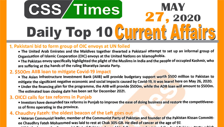 Daily Top-10 Current Affairs MCQs/News (May 27, 2020) for CSS, PMS