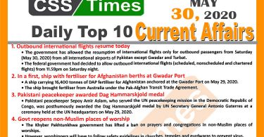 Daily Top-10 Current Affairs MCQs/News (May 30, 2020) for CSS, PMS