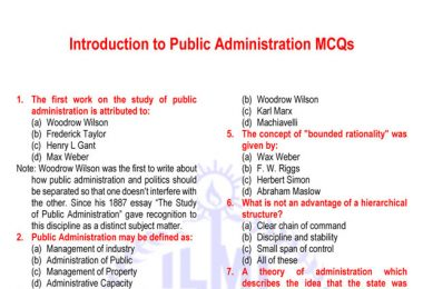 Public Administration MCQs, Public Administration MCQs for CSS, PMS MCQs