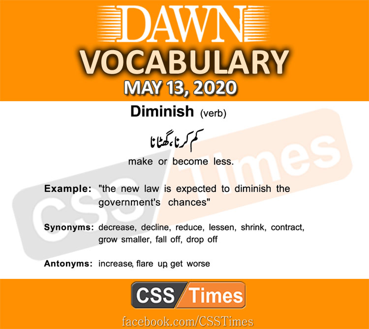 Daily DAWN News Vocabulary with Urdu Meaning (13 May 2020)