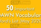 50 Important DAWN Vocabulary Word's List (May 2020)