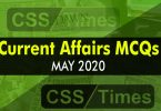 Current Affairs MCQs May 2020