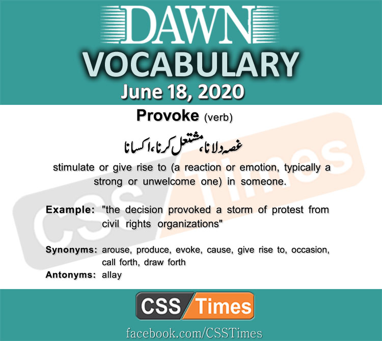 Daily DAWN News Vocabulary with Urdu Meaning (18 June 2020)