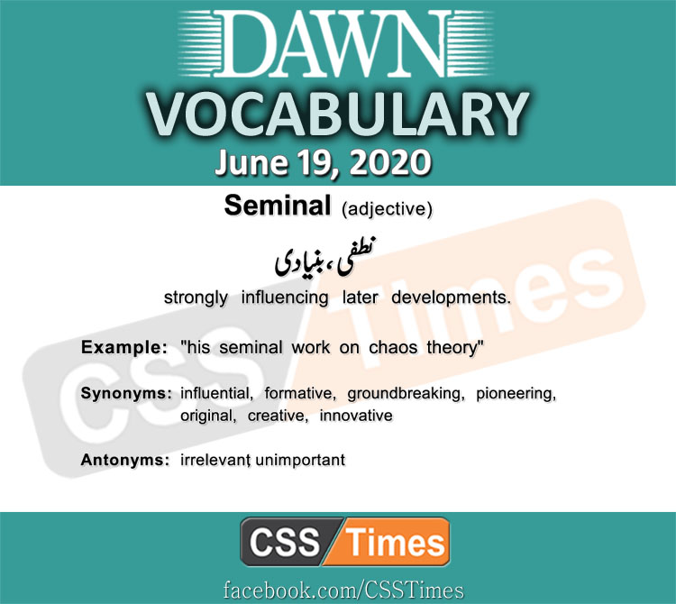 Daily DAWN News Vocabulary with Urdu Meaning (19 June 2020)
