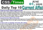 Daily Top-10 Current Affairs MCQs/News (June 01, 2020) for CSS, PMS