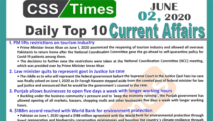 Daily Top-10 Current Affairs MCQs/News (June 02, 2020) for CSS, PMS