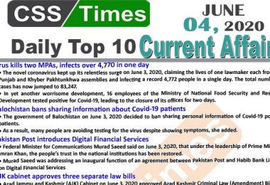 Daily Top-10 Current Affairs MCQs/News (June 04, 2020) for CSS, PMS