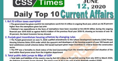 Daily Top-10 Current Affairs MCQs / News (June 12, 2020) for CSS, PMS