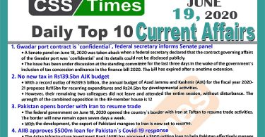 Daily Top-10 Current Affairs MCQs News (June 19, 2020) for CSS