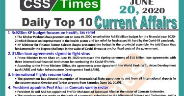 Daily Top-10 Current Affairs MCQs / News (June 20, 2020) for CSS, PMS