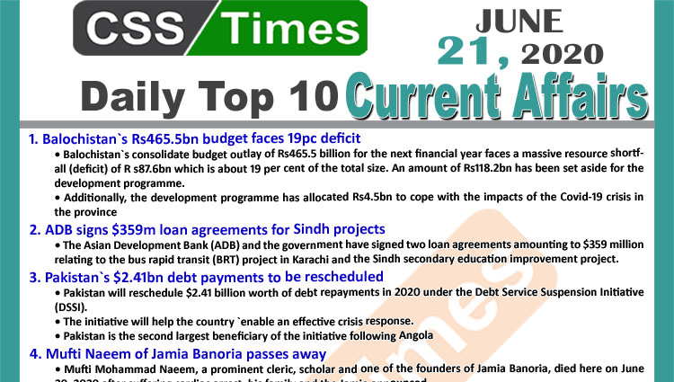 Daily Top-10 Current Affairs MCQs / News (June 21, 2020) for CSS, PMS