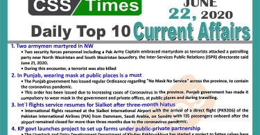 Daily Top-10 Current Affairs MCQs / News (June 22, 2020) for CSS, PMS