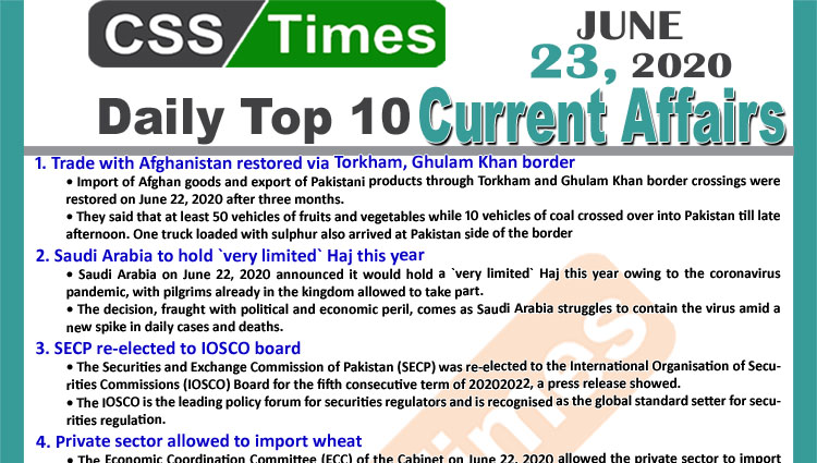 Daily Top-10 Current Affairs MCQs / News (June 23, 2020) for CSS, PMS