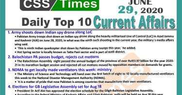 Daily Top-10 Current Affairs MCQs / News (June 28, 2020) for CSS, PMS