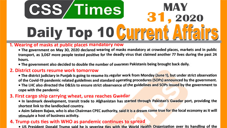Daily Top-10 Current Affairs MCQs/News (May 31, 2020) for CSS, PMS