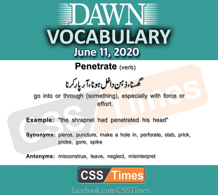 Daily DAWN News Vocabulary with Urdu Meaning