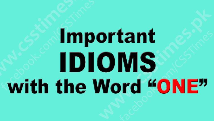 """Important IDIOMS with the Word """"ONE"""" 