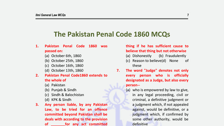 General Law MCQs (The Pakistan Penal Code 1860 MCQs with Answer Keys)