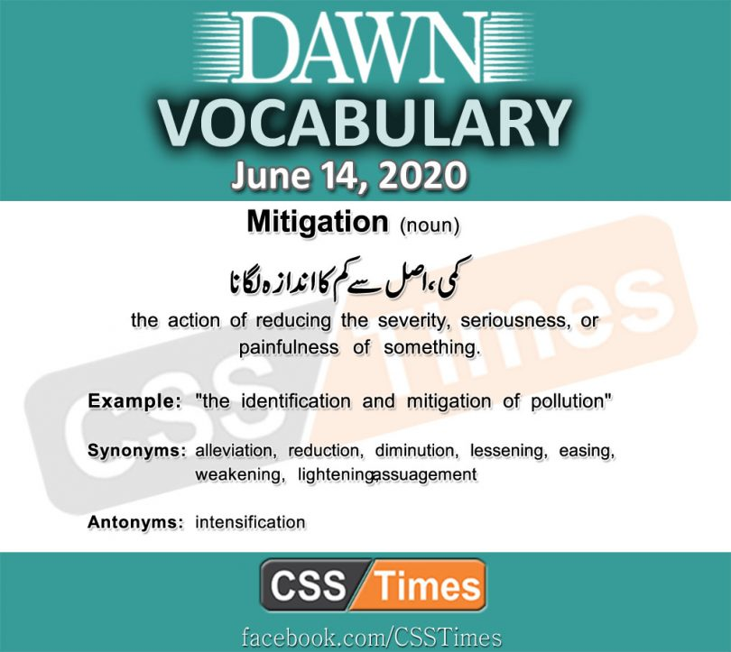 Daily DAWN News Vocabulary with Urdu Meaning (14 June 2020)