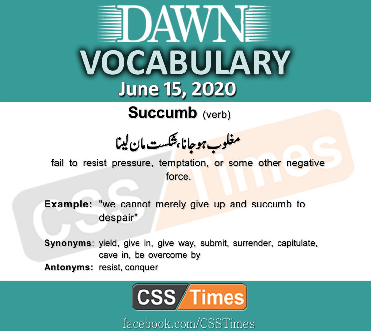 Daily DAWN News Vocabulary with Urdu Meaning (15 June 2020)