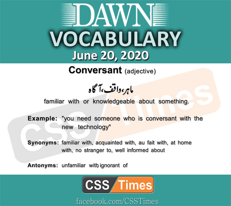 Daily DAWN News Vocabulary with Urdu Meaning (20 June 2020)