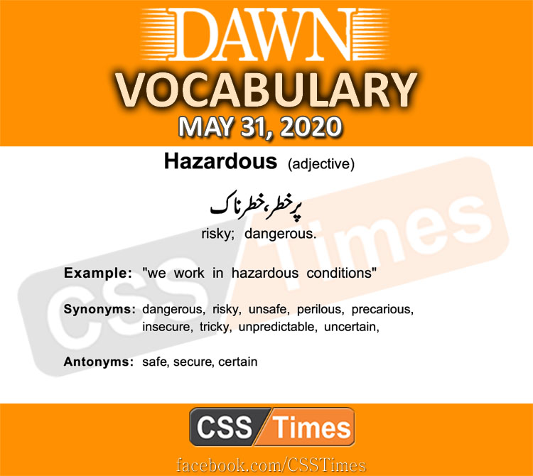 Daily DAWN News Vocabulary with Urdu Meaning (31 May 2020)