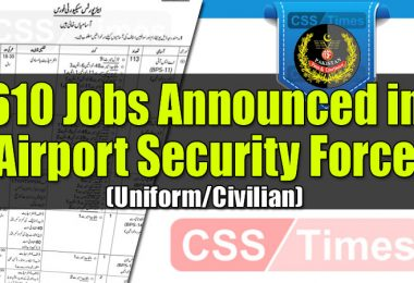 610 Jobs Announced in Airport Security Force (Uniform/Civilian)