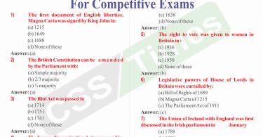 British Constitution MCQs for Competitive Exams