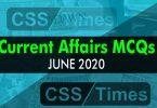 Current Affairs MCQS June 2020 (National / International MCQs)