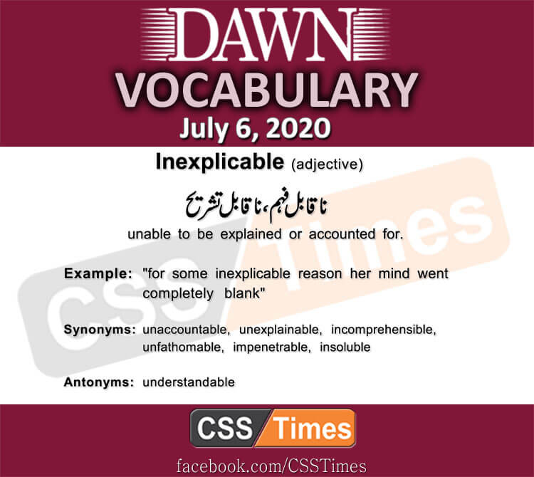 Daily DAWN News Vocabulary with Urdu Meaning (06 July 2020)