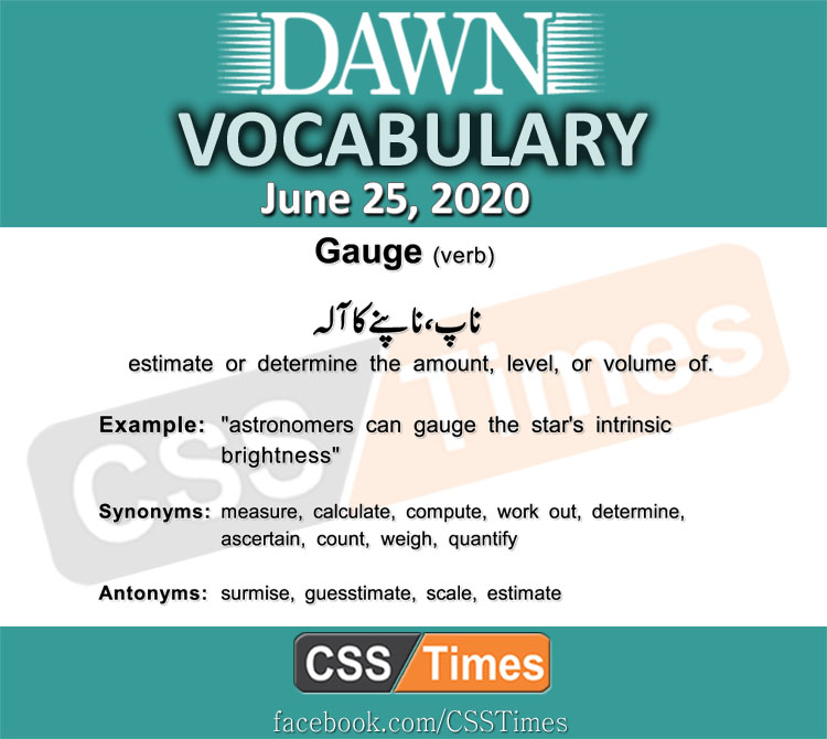 Daily DAWN News Vocabulary with Urdu Meaning (25 June 2020)
