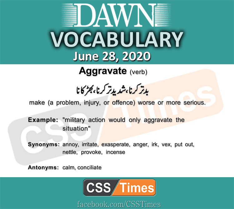 Daily DAWN News Vocabulary with Urdu Meaning (28 June 2020)