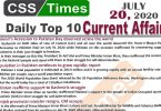 Daily Top-10 Current Affairs MCQs / News (July 20, 2020) for CSS, PMS