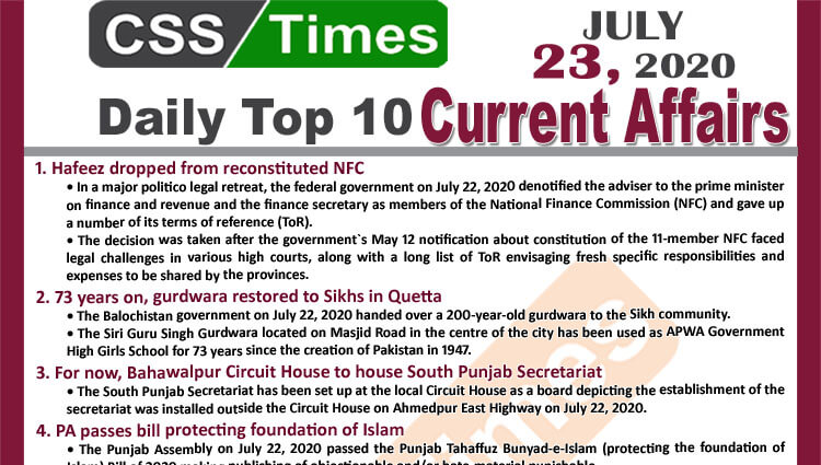 Daily Top-10 Current Affairs MCQs / News (July 23, 2020) for CSS, PMS