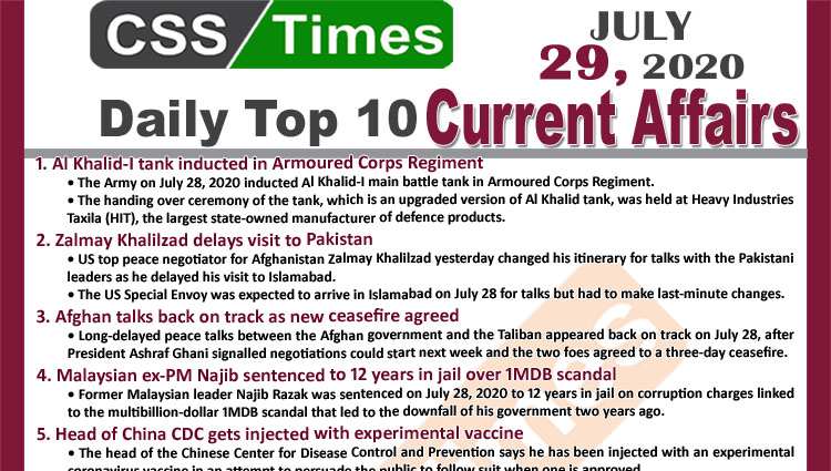 Daily Top-10 Current Affairs MCQs / News (July 29, 2020) for CSS, PMS