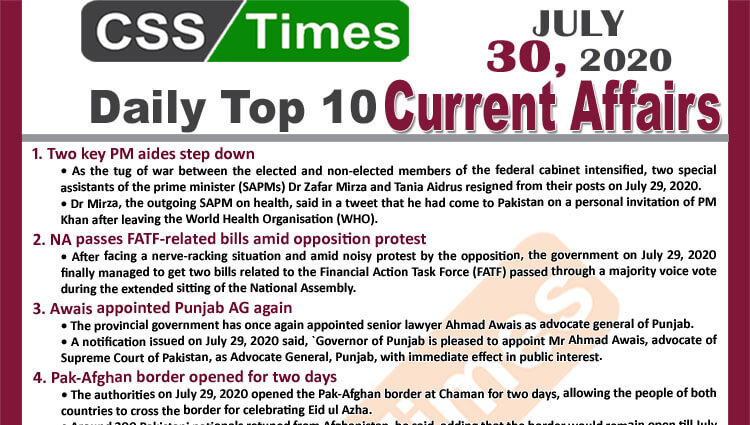 Daily Top-10 Current Affairs MCQs / News (July 30, 2020) for CSS, PMS