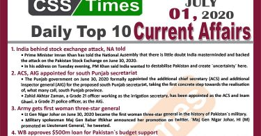 Daily Top-10 Current Affairs MCQs / News (July 01, 2020) for CSS, PMS