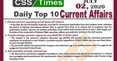 Daily Top-10 Current Affairs MCQs / News (July 02, 2020) for CSS, PMS