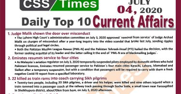 Daily Top-10 Current Affairs MCQs / News (July 04, 2020) for CSS, PMS