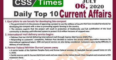 Daily Top-10 Current Affairs MCQs / News (July 06, 2020) for CSS, PMS