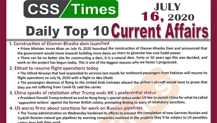 Daily Top-10 Current Affairs MCQs / News (July 16, 2020) for CSS, PMS