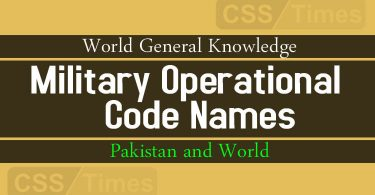 Military Operational Code Names (Pakistan and World)
