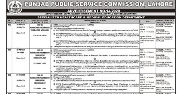 PPSC Advertisement Number 14 (28 July 2020)