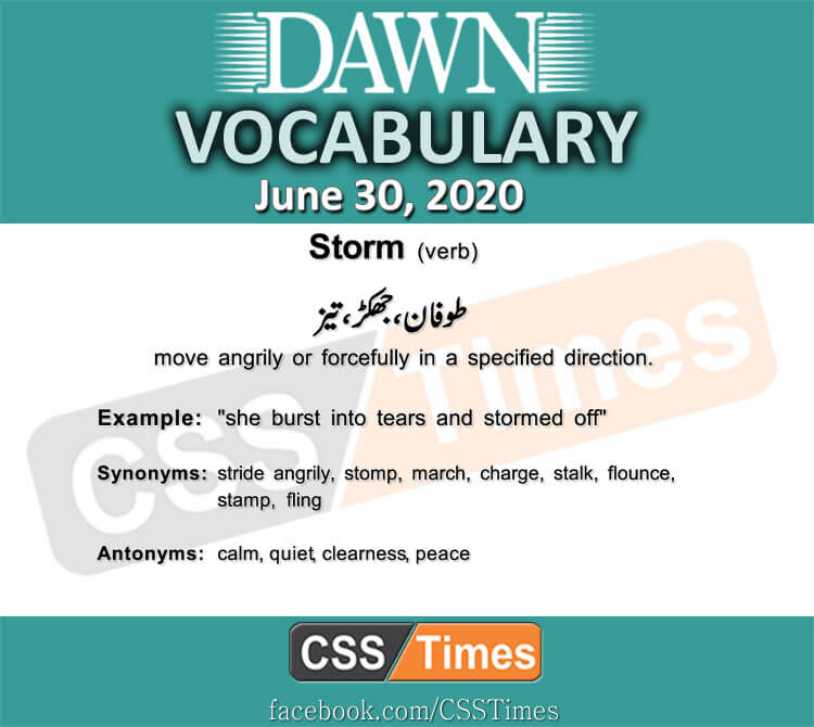 Daily DAWN News Vocabulary with Urdu Meaning (30 June 2020)