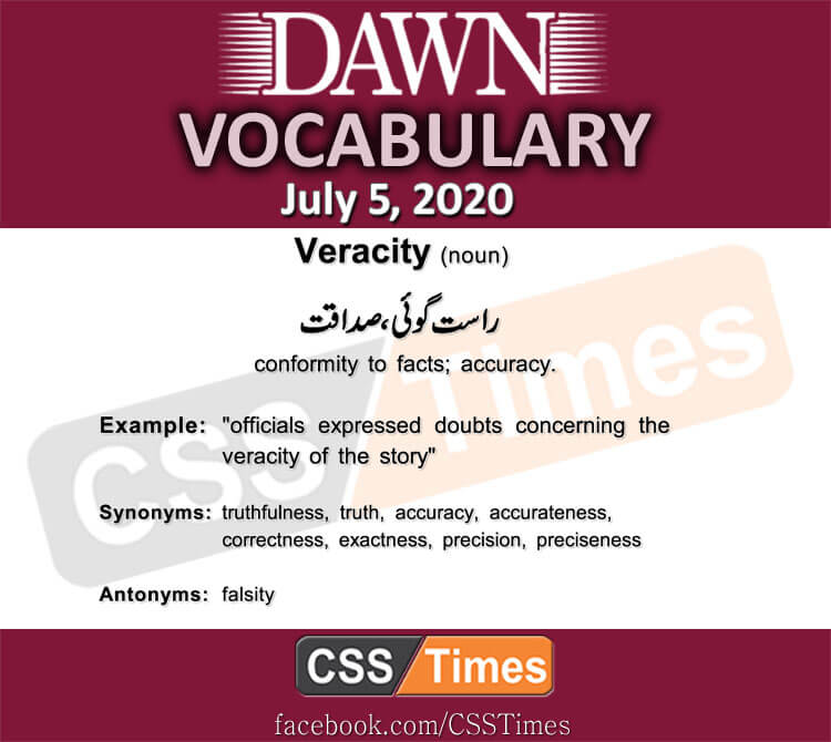 Daily DAWN News Vocabulary with Urdu Meaning (05 July 2020)