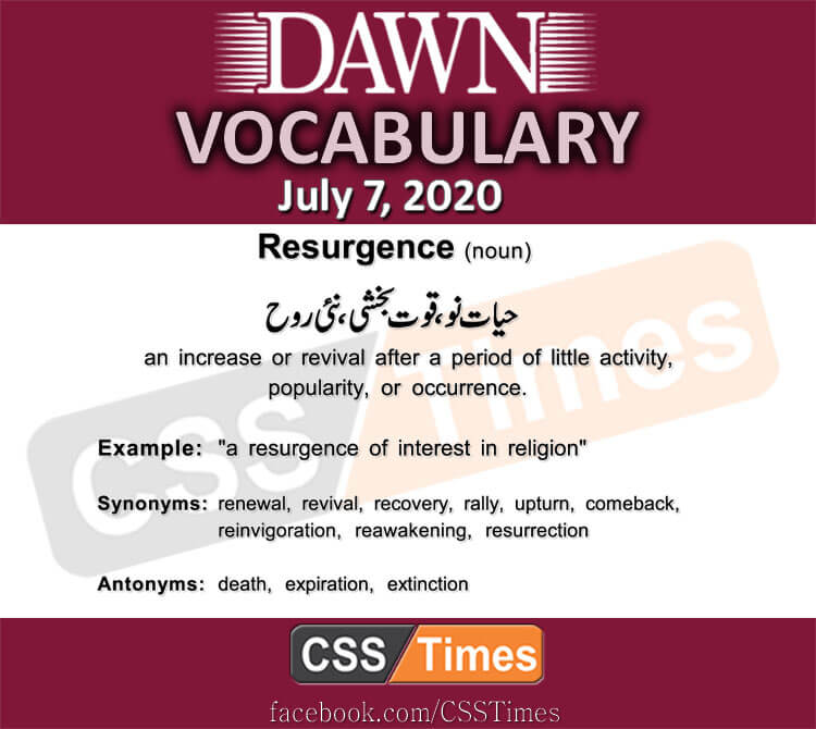 Daily DAWN News Vocabulary with Urdu Meaning (07 July 2020)