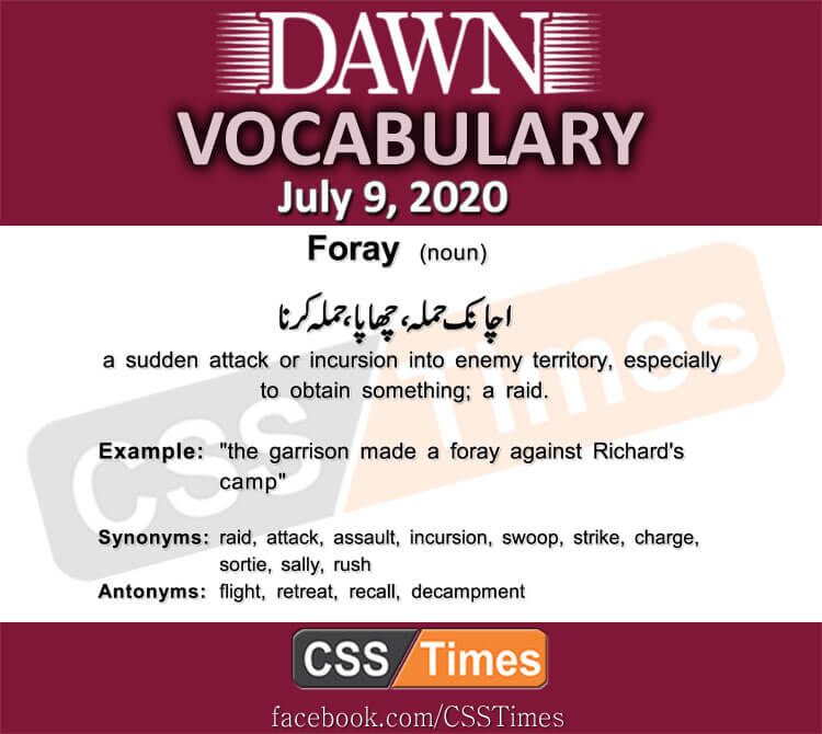 Daily DAWN News Vocabulary with Urdu Meaning (09 July 2020)